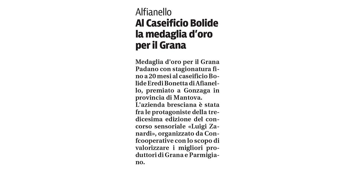 Caseificio Bolide di Alfianello - Medaglia d'oro per Grana Padano a Gonzaga