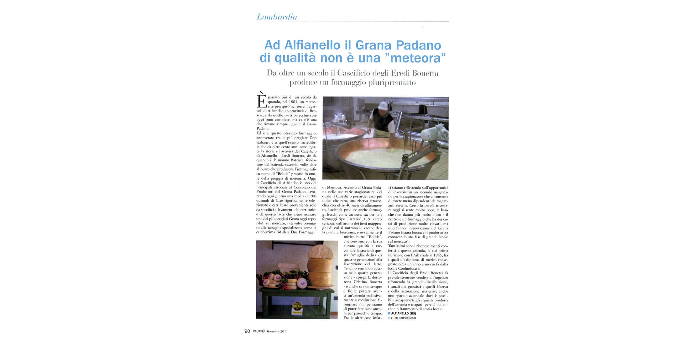 """Caseificio Bolide di Alfianello - Ad Alfianello il Grana Padano di qualità non è una """"meteora"""""""
