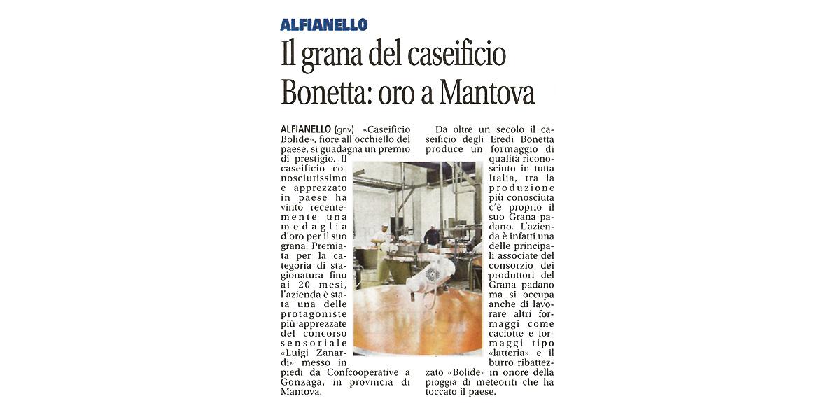 Caseificio Bonetta, caseificio bolide, rassegna stampa, grana